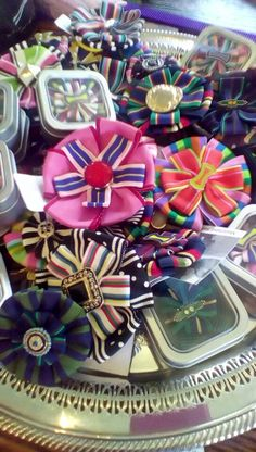 Forget those giant, bulky show bows! Smaller, sweet, handmade ribbon show bows are the way to go for your young lady! Matching and coordinating pins available as well to finish the show ring look.