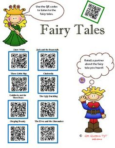 FUN WITH FAIRY TALES USING QR CODES - Pre k-2nd $