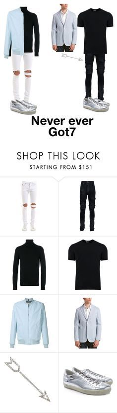 """""""Never Ever Got7 (male blue)"""" by spicy-noodle ❤ liked on Polyvore featuring April 77, AMIRI, Dondup, Dolce&Gabbana, A.P.C., Enzo, Golden Goose, men's fashion and menswear"""