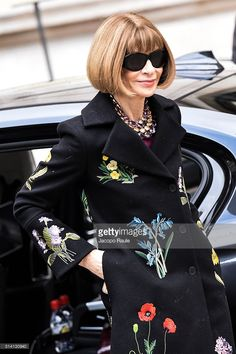 Anna Wintour is seen arriving at Stella McCartney fashion show during Paris Fashion Week : Womenswear Fall Winter 2016/2017 on March 7, 2016 in Paris, France.