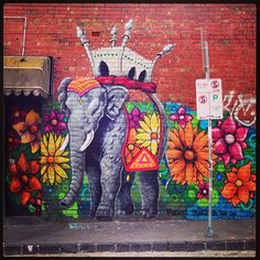 Floral Elephant by MAKATRON Melbourne street art graffiti