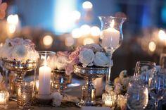 centerpiece : candles, mercury glass, flowers....so pretty