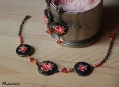 Micro embroidered floral vintage bracelet/cross-stitch jewelry/brass link…