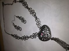 Silver Filigree Heart Pendant/Necklace and Earrings