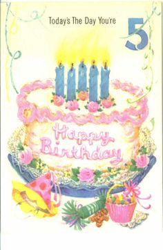 Vintage Birthday Card Five Years Old Cake by TheVintageGreeting, $4.95
