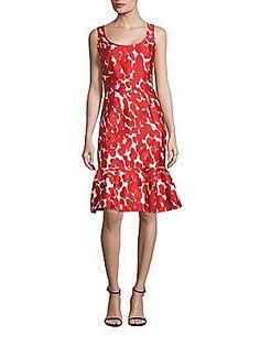 Carolina Herrera Sleeveless Brushstroke Dress