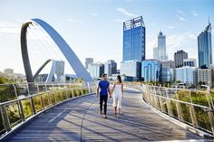 Destination Perth is your guide for the things to do & places to visit in Perth. We've got you covered for sightseeing, activities & events. Romantic Honeymoon Destinations, Pedestrian Bridge, Modern City, Ocean Beach, Western Australia, Perth, Where To Go, The Good Place, Scenery
