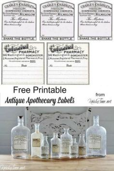 Turn Any Old Bottle or Jar Into an Antique Style Apothecary Bottle! Turn any old bottle or jar into an antique apothecary-looking bottle with these free printables Apothecary Bottles, Antique Bottles, Altered Bottles, Bottles And Jars, Apothecary Decor, Spice Bottles, Empty Bottles, Vintage Perfume Bottles, Antique Glass