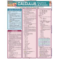 Pre-Calculus: Equations & Answers Laminated Study Guide - BarCharts Publishing Inc makers of QuickStudy Ap Calculus, Calculus Notes, Differential Calculus, Math Formulas, Math Help, Learn Math, Music Games, Science, Helpful Hints
