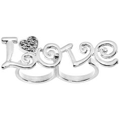 Gun Metal Color Love Heart Double Finger Ring $8.99 #love #doublefingerring #bodycandy