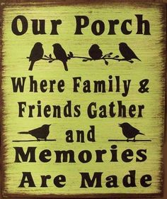 Our Porch With Birds Humerous Primitive Rustic Country Stretched Canvas Home Decor Unsere Veranda mit Vögeln Humerous Primitive rustikale Land Holz Zeichen Home Decor Country Wood Signs, Wood Signs Home Decor, Rustic Signs, Country Decor, Wooden Signs, Rustic Decor, Country Homes, Farmhouse Decor, Western Signs