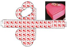 Caixa Coração Eid Crafts, 3d Paper Crafts, Diy Gift Box, Diy Box, Strawberry Box, Theme Mickey, Paper Box Template, Types Of Craft, Barbie Accessories