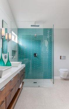 House of Turquoise - tile Blue Green Bathrooms, Green Bathroom Decor, Modern Bathroom, Bathroom Ideas, Bathroom Designs, Bathroom Green, Master Bathroom, Bathroom Wall, White Bathroom