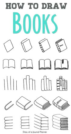 Easy step by step tutorials on how to draw a book. Learn how to draw a book open, book cover, doodle book shelf, draw a pile or stack of books and more. - Easy step by step tutorials on how to draw a book. Learn how to draw a book open. Doodle Bullet Journal, Bullet Journal Banner, Bullet Journal Lettering Ideas, Bullet Journal Notebook, Bullet Journal Ideas Pages, Book Journal, Journal Prompts, Bullet Journals, Bullet Journal For School