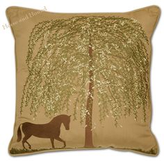 "Horse Pillow Indoor or Outdoors! Trotting horse under a willow tree embroidered on a large 20"" square pillow. The metallic threads in the embroidery work make the equestrian image shimmer in the light. Acrylic canvas fabric repels water and be fade resistant."
