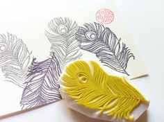 feather rubber stamp. peacock feather. hand carved rubber stamp.