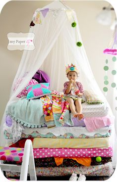 """My Paper lily: {Party Fun} my daughters' """"Princess and the Pea"""" pajama party or cute photoshoot idea"""