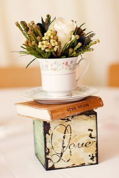 vintage wood block high tea centerpiece. Maybe screen paint photo of bride and groom on wooden block
