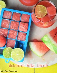 Watermelon Vodka Limeade is refreshing watermelon juice limeade with vodka and frozen watermelon juice cubes is the perfect summer drink!
