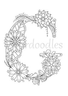 Adult Coloring Page Floral Letters Alphabet G Hand