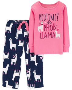 Llama Glitter Snug Fit Cotton and Fleece - Pink Llama - CU18IRA44U7 - Girls' Clothing, Sleepwear & Robes, Pajama Sets  #PajamaSets #Girls' #Clothing # #Sleepwear #& #Robes # #Pajama #Sets