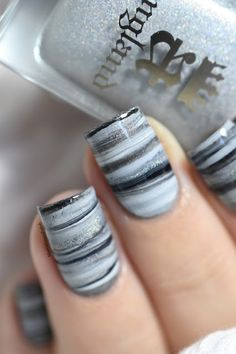 Marine Loves Polish: Fifty Shades of Grey Dry Marble [VIDEO TUTORIAL] - easy marble nails
