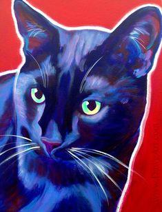 Colorful Pet Portrait Black Cat Art Print DawgArt by dawgpainter