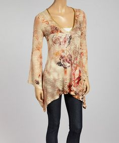 This Beige & Pink Rose Sidetail Tunic by Boho Chic-LA is perfect! #zulilyfinds