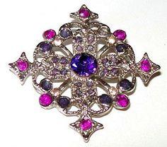 Vintage Brooch Pin Purple Rhinestones by BrightgemsTreasures, $16.50