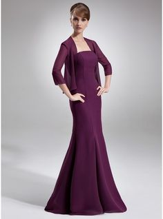 Trumpet/Mermaid Strapless Floor-Length Chiffon Mother of the Bride Dress (008006528)