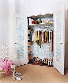 If you don't have the luxury of having a dressing room or large closet, you can still make the space feel chic and elegant by adding your favorite wallpaper to the interior walls and doors.