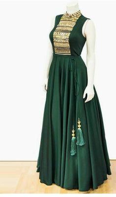 Best 12 Long Green Anarkali with wonderful neck work Saree Gown, Sari Dress, Anarkali Dress, Red Lehenga, Anarkali Suits, Indian Designer Outfits, Indian Outfits, Designer Dresses, Kurta Designs