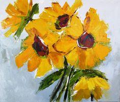 Les tournesols : huile sur toile : 60/70 cm