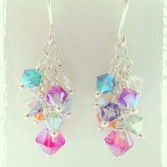 Sterling Silver Swarovski Crystal Mini CLuster Earrings Tutti Frutti
