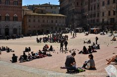 Piazza del Campo. One of the largest Medieval squares covered in fainted teracota brown color.