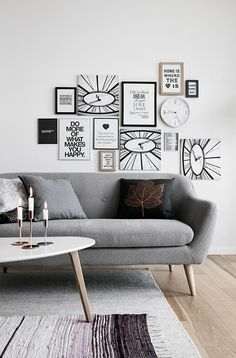 Light grey sofas with Scandinavian style coffee tables are perfect for a Scandinavian living room design. Get more living room design tips from JYSK. Living Room Paint, New Living Room, Living Room Chairs, Living Room Interior, Living Room Furniture, Living Room Decor, Spacious Living Room, Room Inspiration, Living Room Designs
