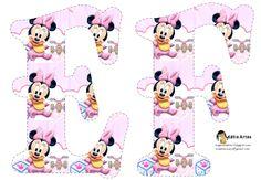 Oh my Alfabetos!: Alfabeto de Minnie Bebé con fondo en rosa y blanco.