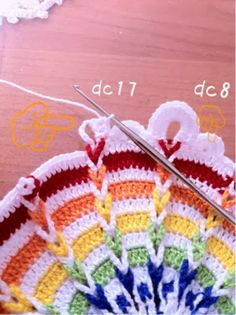 Last time, I made similar one in Dec(another diary) →Finally!. Today I was trying again. I tried 1mm hook. Watiching photo and trying crocheting doily. So, today, atlast I finished! I hope this my memo help you ;) I draw same colour. I'm sorry I dont know how to explain in US style, but I tried. If you don't know how to see chart, please try to understand these :P↓ At first in magic ring, starting 7sc. R2, dc2 in sc1 on magic ring.(blue) R3, ch3+ch10=ch13, dc,dc, ch10,dc,dc...(gr...