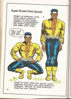 """Luke Cage hangs loose with some squats. No explanation for the """"Super Dude"""" headline."""