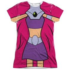 Teen Titans Go/Starfire Uniform (Front/Back Print) Short Sleeve Junior Poly Crew in White Sleeve-length: Short Sleeve Material: Polyester Style: Tee Neck Style: Crewneck Care Instruction: Machine Wash