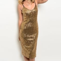 Black gold sequin midi dress Black gold sequin midi length dress with side slit, spaghetti strap style. Fully lined. S-M-L available, measurements available. Please comment for a new listing. Brand new, retail, direct from the vendor, DOES NOT HAVE TAGS. DO NOT PURCHASE THIS LISTING. Dresses Midi