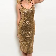 "Black gold sequin midi dress Black gold sequin midi length dress with side slit, spaghetti strap style. Fully lined. S=B:15.5"", W:13.5"", H:17"", L:37.5"", M=B:16.5"", W:14"", H:18"", L:38.5"", L=B:17"", W:15"", H:18.5"", L:40"". Brand new, retail, direct from the vendor. Dresses Midi"