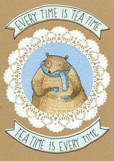 Bear drinking teacup