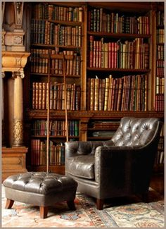 Library Books Leather Chair Study Office Interior Design Home Library Room, Dream Library, Library Ladder, Library Chair, Future Library, Library Shelves, Reading Library, Book Shelves, Library Ideas