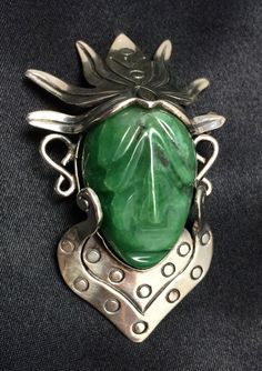 Mexican Taxco Sterling Face Mask Brooch / Vintage