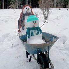 Wheelbarrow snowmen