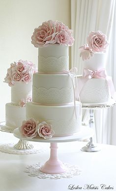 leslea matsis cakes - wedding - wedding cake - pink roses and lace....practically perfect!! swap the top flowers for the teacup and the colors just a TINY bit bolder...