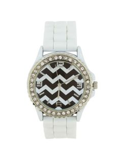 White Chevron Jelly Watch  Purchasing available through our Facebook page: https://www.facebook.com/handlewithflair1