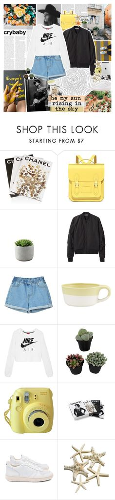 """""""be my light in the window at home"""" by www-purrtydino-org ❤ liked on Polyvore featuring GET LOST, Sebastian Professional, Assouline Publishing, The Cambridge Satchel Company, T By Alexander Wang, Crate and Barrel, NIKE, Fujifilm, Chanel and Veja"""