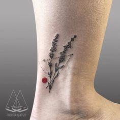 Lavender tattoo on the ankle. Tattoo artist: Mentat Gamze